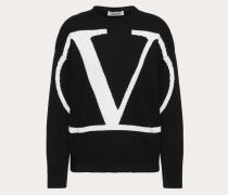 Valentino Kaschmirpullover mit Vlogo-intarsie L
