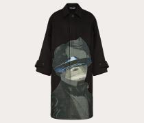 Valentino Uomo Mantel mit V Face Ufo Intarsienmotiv