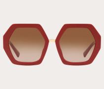 Valentino Occhiali Hexagonale Oversize-Sonnenbrille aus Acetat Vlogo