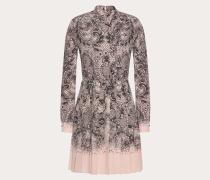 Valentino Plisseekleid aus Crêpe De Chine mit Lace-print