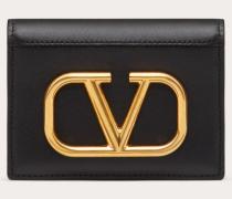 Valentino Garavani Kleines Portemonnaie Vlogo aus Kalbsleder
