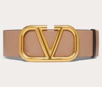 Valentino Garavani Wendegürtel Vlogo aus glänzendem Kalbsleder 0