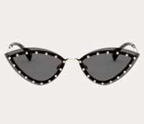 Dreieckige Sonnenbrille aus Metall mit Kristallnieten