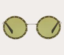 Valentino Occhiali Runde Sonnenbrille aus Metall mit Kristallen