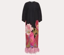 Valentino Bedrucktes Kleid aus Crêpe De Chine mit Federn