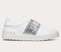 Sneakers Rockstud Untitled aus Kalbsleder mit Glitzerstreifen