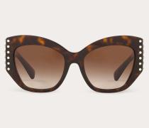 Sonnenbrille aus Acetat mit Nieten aus Kristallen