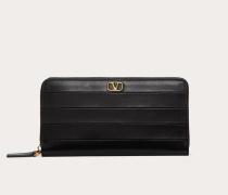 Valentino Garavani Portemonnaie mit Reißverschluss Diary Lines aus Kalbsleder