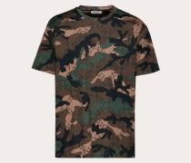 Valentino Uomo Camouflage-t-shirt mit Vltn Grid-print M