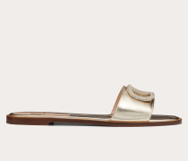 Flache Slider-sandalen Vlogo aus Laminiertem Nappaleder