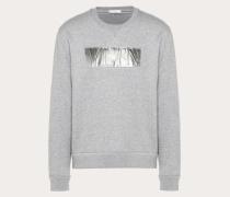 Valentino Uomo Rundhalssweatshirt mit Laminierter Vltn Prägung XS