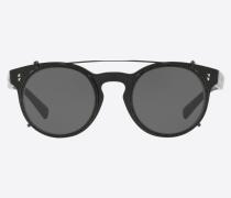 Valentino Occhiali Runde Sonnenbrille aus Acetat mit Clip und Kristallen