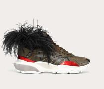 Valentino Garavani Uomo Sneakers Bounce mit Vltn-print und Abnehmbaren Federn