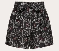 Valentino Shorts aus Crêpe Couture mit Undercover Print