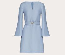 Kleid aus Crêpe Couture mit V-pavé-gürtel
