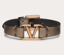 Armband Vlogo Signature aus Metallic-nappaleder