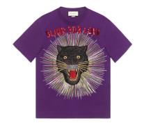 T-Shirt aus Baumwolle mit Panther und Strahlen