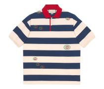Gestreiftes Poloshirt mit Stickereien