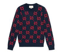 Pullover aus Wollstrick mit Fledermaus-Stickerei