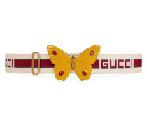Gürtel mit Gucci Streifen und Schmetterling