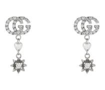 Blumen-Ohrringe mit Doppel G und Diamanten