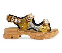 Sandale aus Metallic-Leder mit Kristallen
