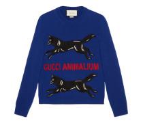 Pullover aus Wollstrick mit Stickerei