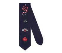 Krawatte aus Wolle mit Stickerei