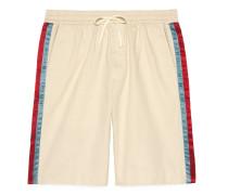 Shorts aus Baumwolldrell mit Azetatstreifen