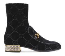 Horsebit Stiefel aus GG Samt mit Kristallen