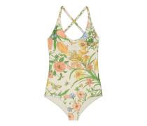 Glänzender Badeanzug mit Flora-Print