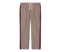 Hose aus Wolle Mohair mit Hahnentritt-Muster