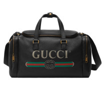 Reisetasche aus Leder mit GucciPrint