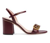 Doppel G Sandale aus Leder mit Absatz