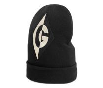 Mütze aus Wolle mit GRhombus-Patch