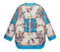Jacke aus Nylon mit Blumen und Quasten