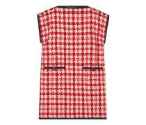 Ärmelloses Kleid mit Hahnentritt-Muster