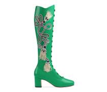 Stiefel aus Leder mit Applikation und Absatz
