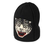 Mütze aus Wolle mit Tigerkopf-Stickerei