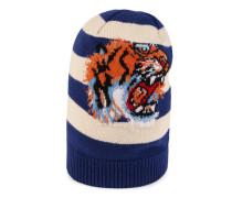 Mütze aus gestreifter Wolle mit Tiger-Stickerei