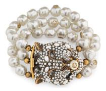 Felinekopf-Armband mit Kristallen und Perlen