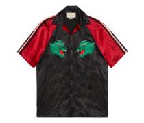 Bowling-Shirt aus Acetat mit Panthergesicht
