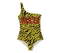 Glänzender Badeanzug mit Zebra-Print