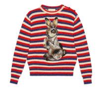Pullover aus gestreifter Wolle und Lurex mit Hase