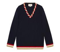 Zopfmusterstrick-Pullover aus Kaschmir und Wolle