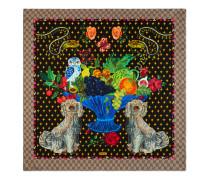 Halstuch aus Seide mit Spaniel- und Vasen-Print