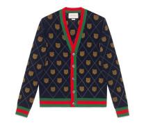 Cardigan aus Wolle mit Tiger-Argyle-Motiv