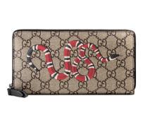 Brieftasche mit Rundumreißverschluss aus GG Supreme mit Königsnatterprint
