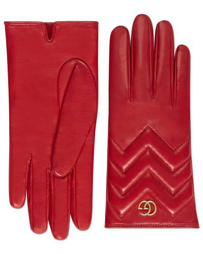 Handschuhe GG Marmont aus Leder mit Chevron