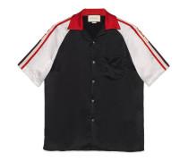 Bowling-Shirt aus Acetat mit Gucci Streifen